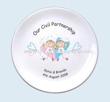 Pink & Blue Hearts Civil Partnership Plate