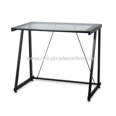 Black Glass Metal Desk