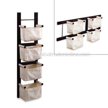 Espresso Magazine Rack with Canvas Baskets