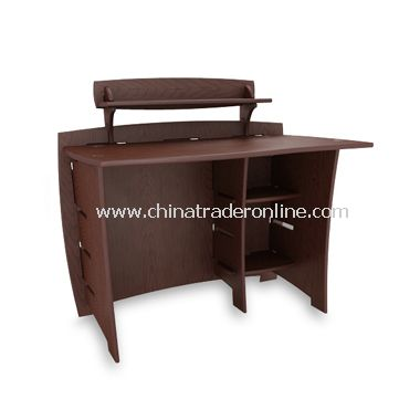 Espresso/Natural Wood Desk with Shelf from China