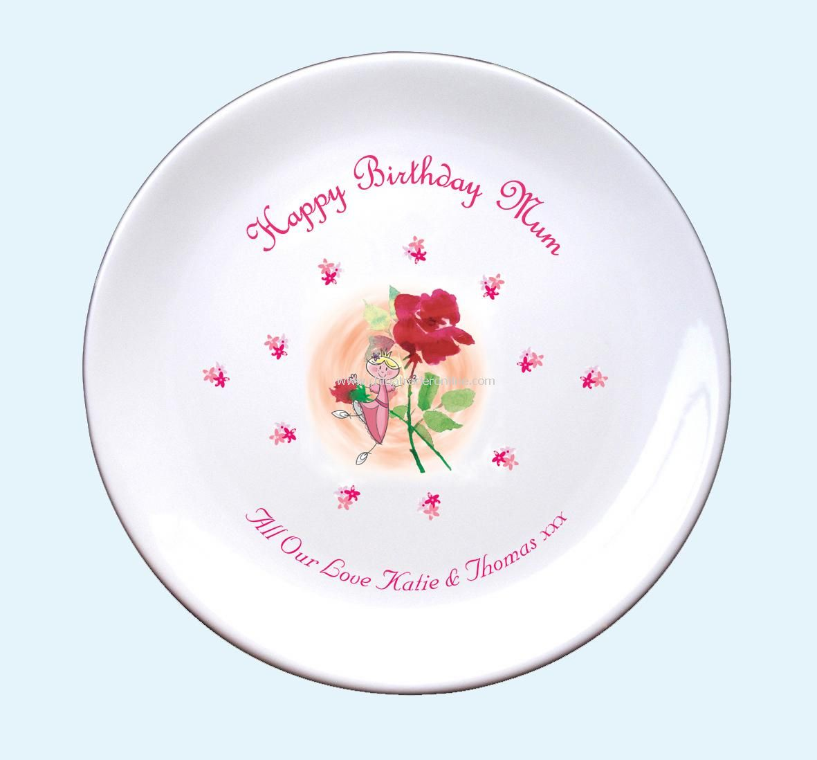Fairy & Rose Birthday Plate