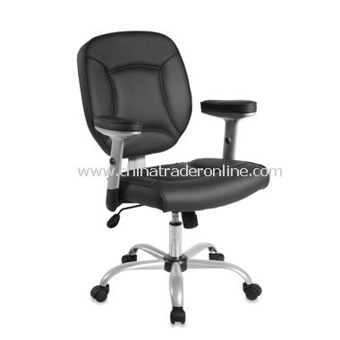 Faux Leather Task Chair with Adjustable Arms - Black