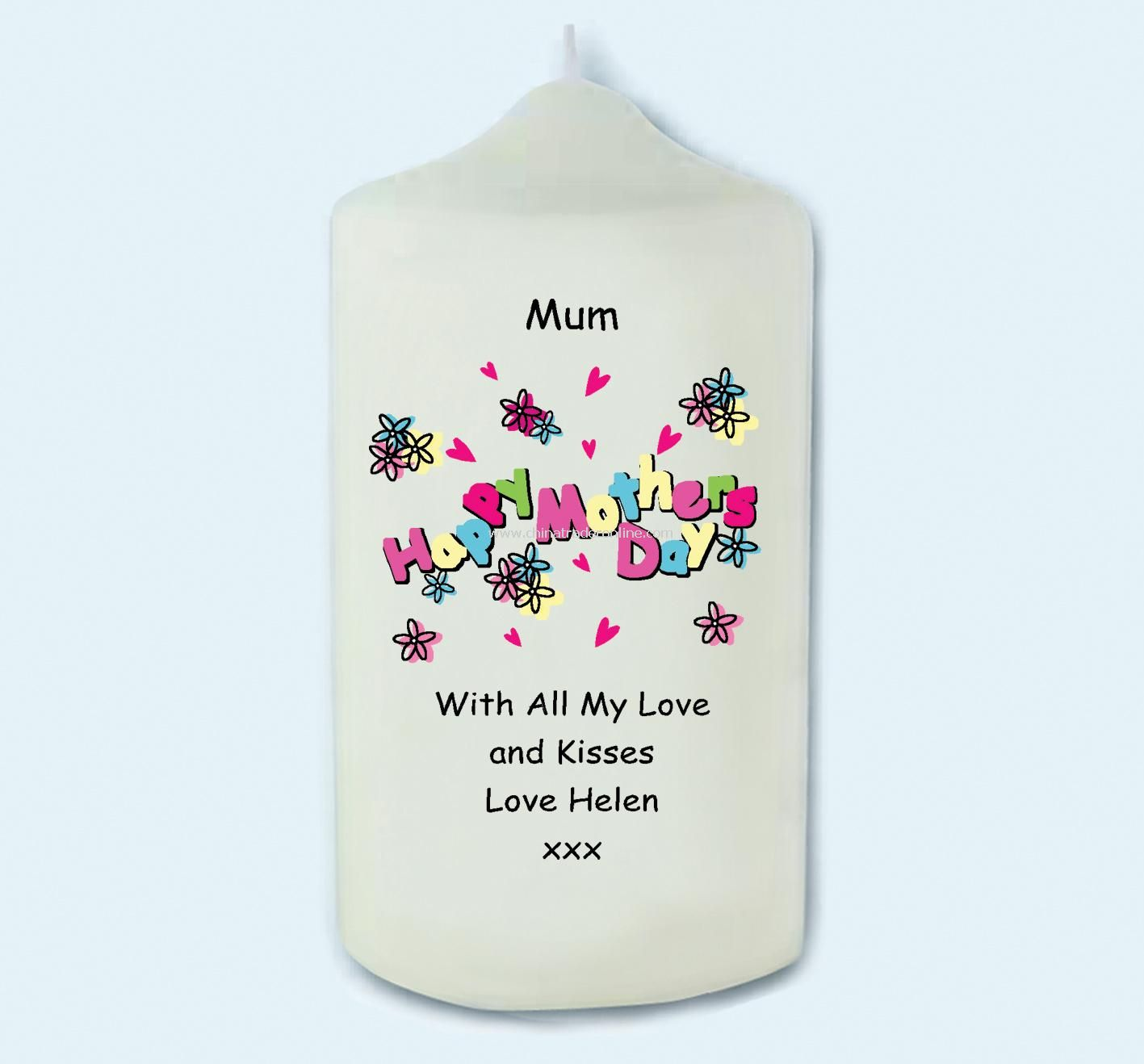 Hearts & Flowers Message Candle