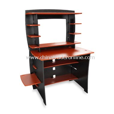 Legare Black and Red Desk with Hutch