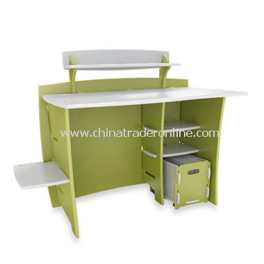 Legare Pistachio Desk with PDA Shelf and File Cart