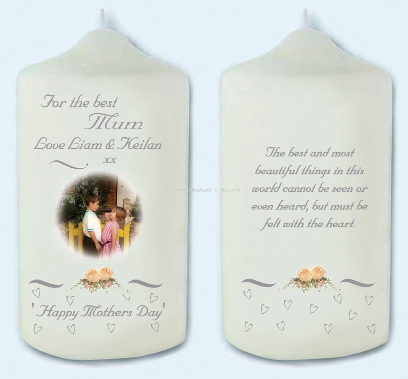 Mothers Day Rose Photo Candle