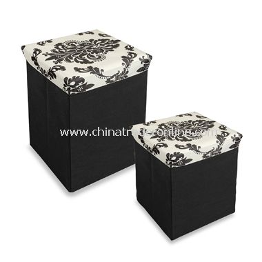 Neat Seat Damask Folding Storage Ottoman