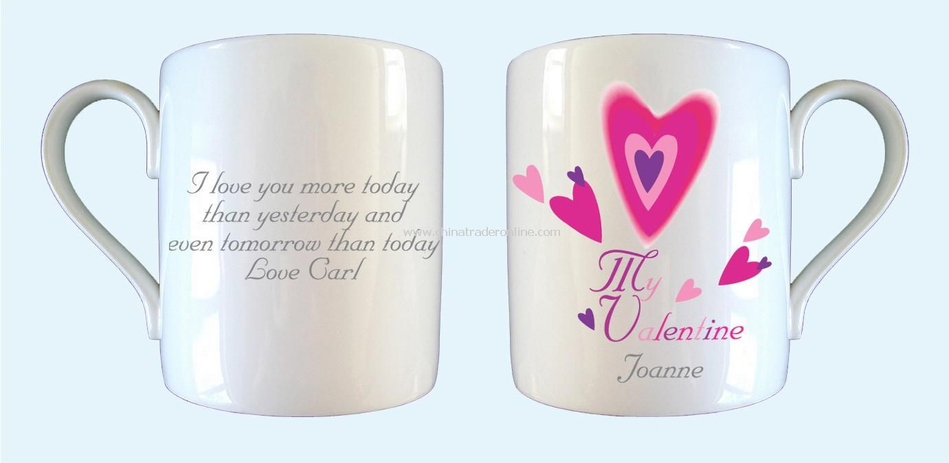 Red Hearts Valentines Mug from China