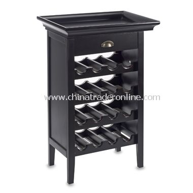 Black Wine Storage Cabinet with Tray