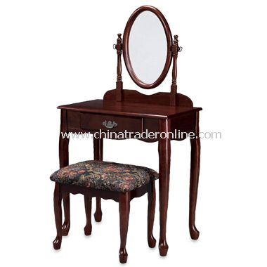 Cherry Finish Vanity, Mirror & Bench Set