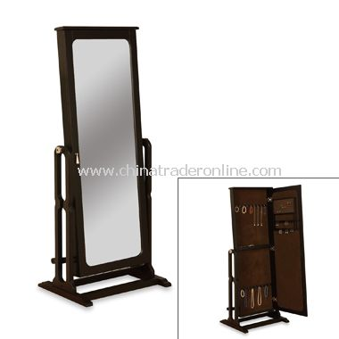 Cheval Mirror Antique Black Finish Jewelry Armoire