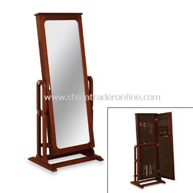Cheval Mirror Marquis Cherry Finish Jewelry Armoire