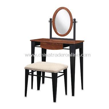 Faux Mahogany Vanity, Mirror & Bench Set