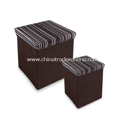 Neat Seat Random Stripe Folding Storage Ottoman from China