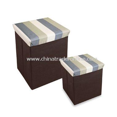 Neat Seat Wide Stripe Folding Storage Ottoman from China