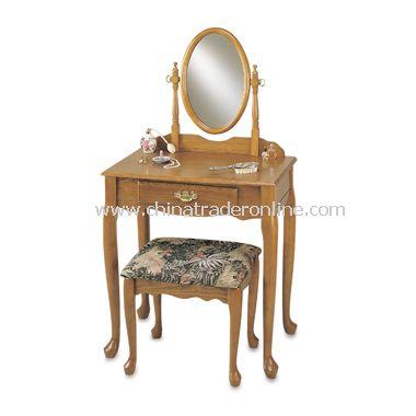 Oak Finish Vanity, Mirror & Bench Set