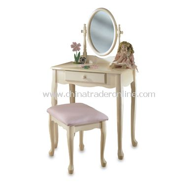 Off White Vanity Table with Mirror and Bench