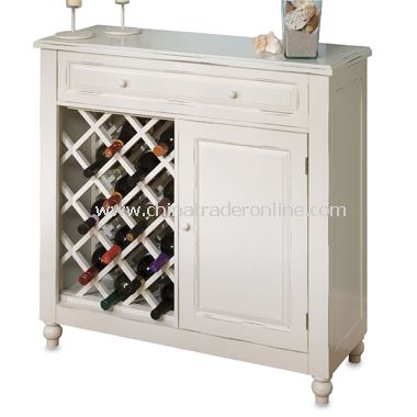 Raised Panel White Wine Cabinet