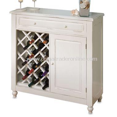 Raised Panel White Wine Cabinet
