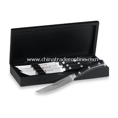Wusthof Classic Ikon 4-Piece Steak Knife Set in Black Chest from China