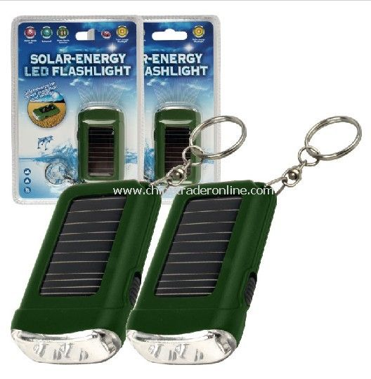 Solar Energy LED Flashlight With Keychain