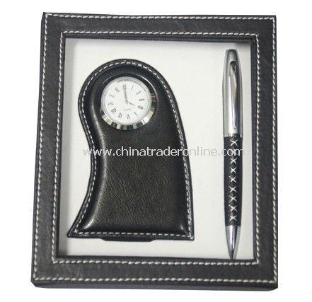 Desk Clock, Ball Pen Gift Set
