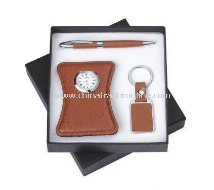 Desk Clock, Ball Pen Keychain Gift Set
