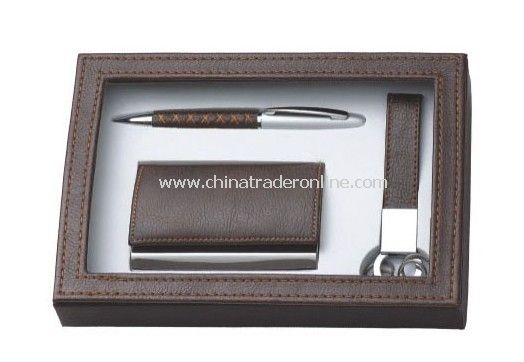 Gift Set with Name Card Holder Ball Pen & Keychain