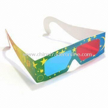 3D Glasses in Various Lens Colors, Suitable for Viewing Movies, Made of 250g Paper Card