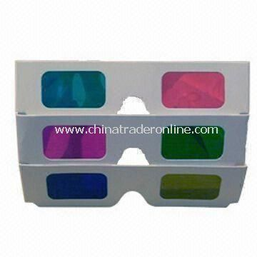 3D Paper Glasses with 0.20mm PET Color Filter Lenses, Special Assembly