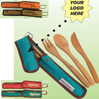 Bamboo Utensil To Go Set with Recycled Wrap