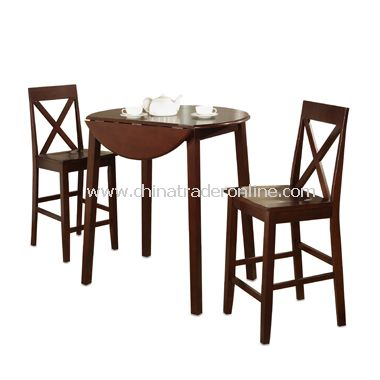 3-Piece Drop Leaf Pub Table Gathering Set