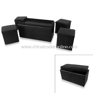 5-Piece Dark Black Bench/Folding Ottoman Set