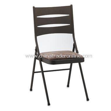 Brown Metal Folding Chair with Padded Seat