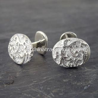 Classic Sterling Silver Oval Baroque Cufflinks