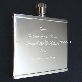 Engraved Hippy Thin Flask