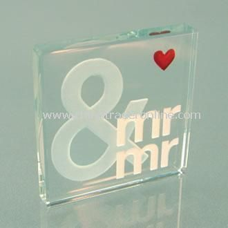 Mr & Mr Miniature Glass Keepsake Token