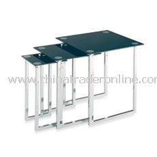 Polished Chrome Nesting Tables with Black Glass Tops (Set of 3)