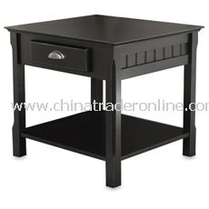 Riley Black End Table with Drawer from China