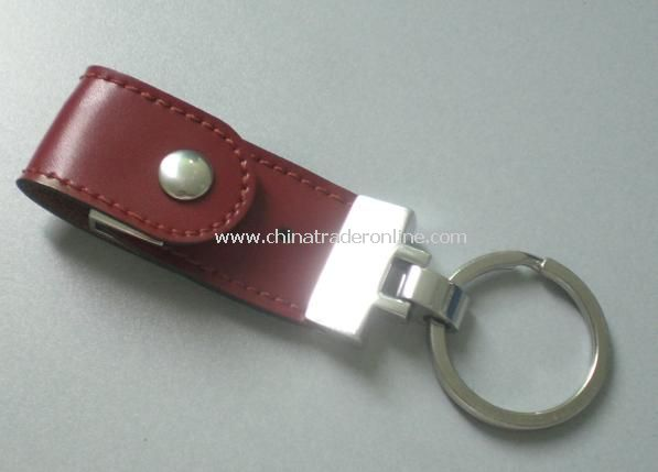 Round Keychain with Leather USB