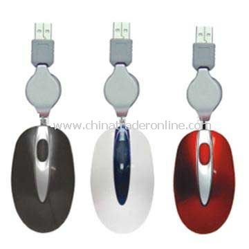 Retrackable USB Optical Mouse With ROHS Certificate Mice