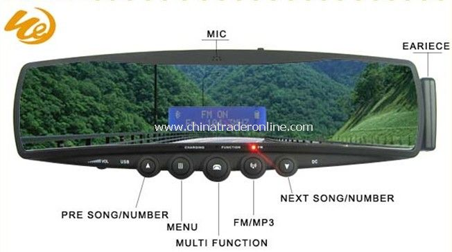 Bluetooth Handsfree Car Kit Mirror with MP3, phonebook, earpiece, FM transmitter from China