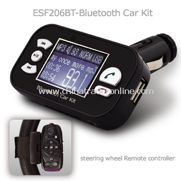 Bluetooth Handsfree Car FM Transmitter with Wheel Controller
