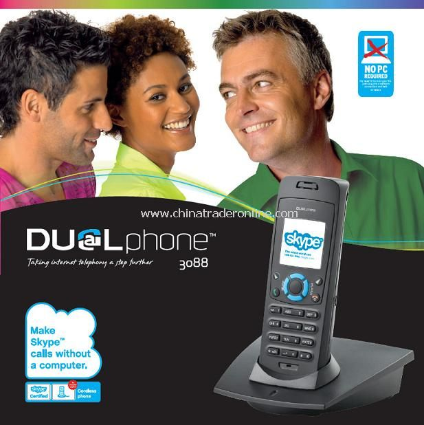 Pcless Dual Skype Phone with 300m Wireless Range