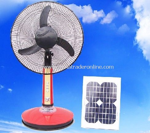 Solar Stand Fan with LED Light