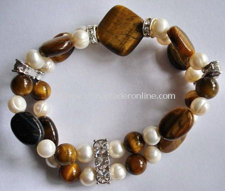 Tiger Eye And Pearl Bracelet