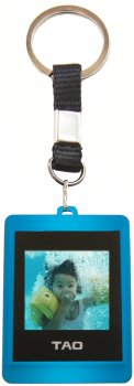 Digital Photo Keychain & Keyring - Blue 1.5 inch