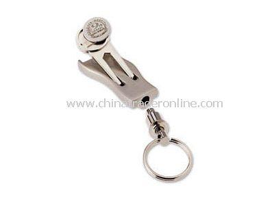 Silver Divot Fixer + Ball Marker Keychain