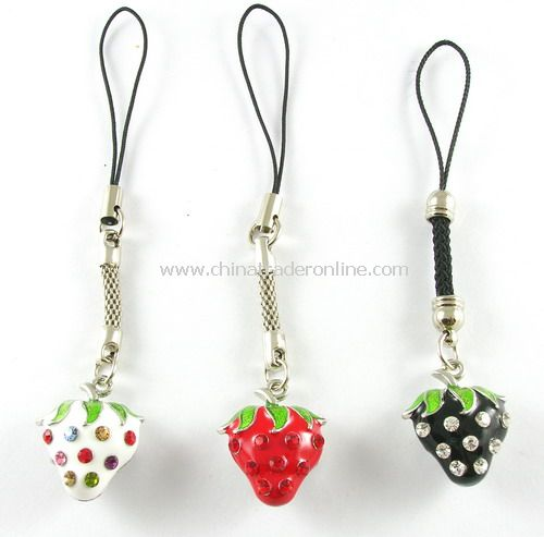 Mobile Phone Hand Strap - Strawberry Shape
