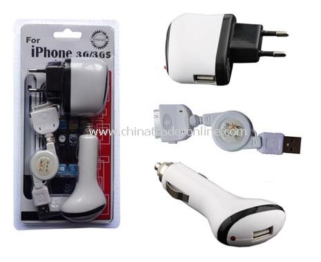 3-In-1 Charger Kit for iPhone 3G/3GS